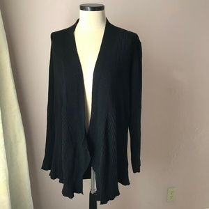 Eileen Fisher Ribbed Merino Open Front Cardigan XL